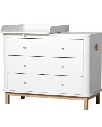 Byrå Wood liten skötbädd vit/ ek, Oliver Furniture