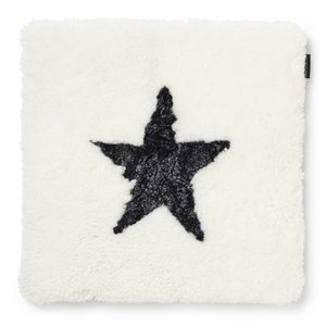 Curly stolsdyna fårskinn - Vit/mörkgrå
