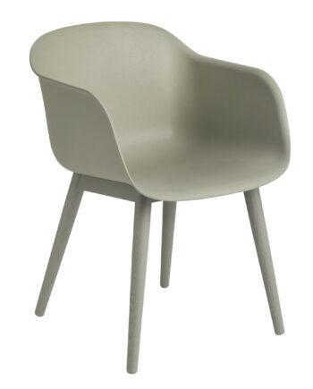 Fiber Chair stol med armstöd och träben dusty green