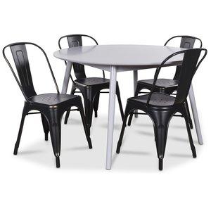 Göteborg matgrupp grått runt bord med 4 st Industry Plåtstolar - Grå / svart guld