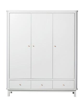 Garderob 3 dörrar Wood vit/ vit, Oliver Furniture