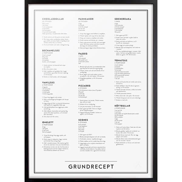 Grundrecept poster, 50x70cm