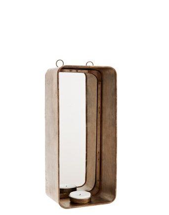 Ljuslykta med spegel 11x8x25 cm Mässing