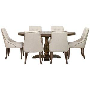Matgrupp: Lamier matbord runt + 6 st Tuva Europa beige stolar