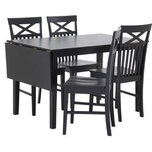 Matgrupp: Sander bord med klaff - Svart - 120 / 155 cm + stolar