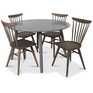 Rosvik matgrupp runt grått matbord med 4 st Thor pinnstolar- Grått / Vintage