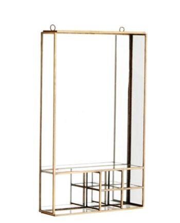 Spegel med hylla 20,5x34,5cm Mässing