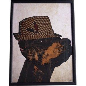 Tavla hund - Svart ram
