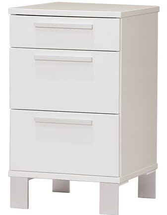 Zebra collection Alba 3 lådor sängbord – Vitlackerad