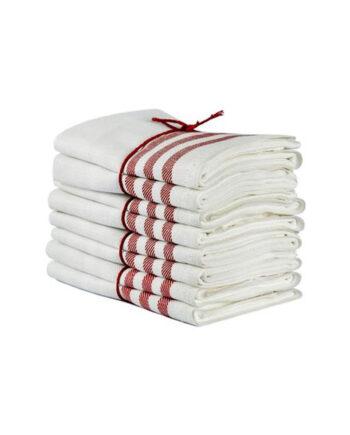 Handduk Diagonal benvit-röd 2-pack