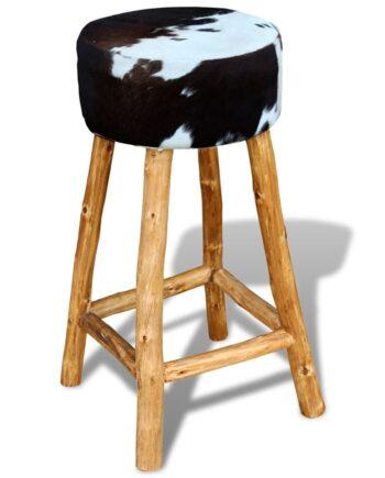 vidaXL Barstol äkta koskinn brun 35x78 cm