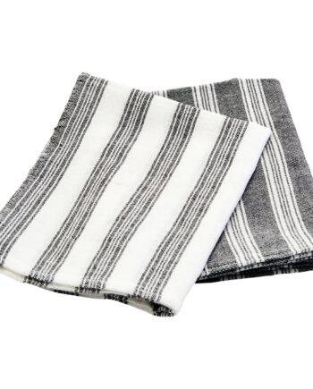 Meraki kökshandduk Hammam 2-pack svartvit