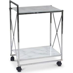 Serveringsvagn Paladium - Krom / Vitt marmorglas
