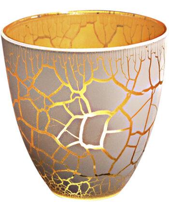 Croco Ljuslykta Vit/Guld 10 cm
