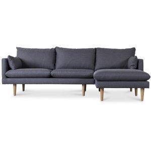 Kleo 2-sits soffa med öppet avslut höger - Mörkgrå