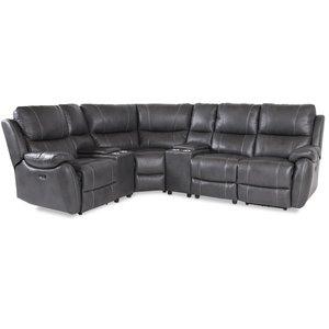 Enjoy recliner-hörnsoffa - 4-sits (el) i grått konstskinn (modell H)