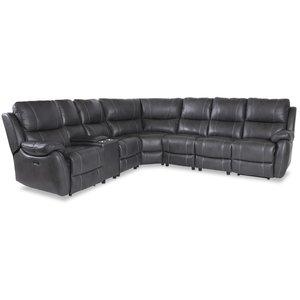 Enjoy recliner-hörnsoffa - 6-sits (el) i grått konstskinn (modell H)