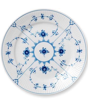 Blue Fluted Plain tallrik Ø 22 cm