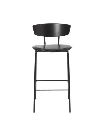 Herman barstol med lädersits låg svart