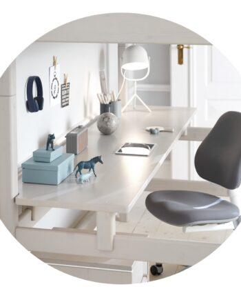Långt skrivbord till hög loftsäng, FLEXA CLASSIC