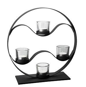 Ljusstake svart smide rund 4 glas 35 cm