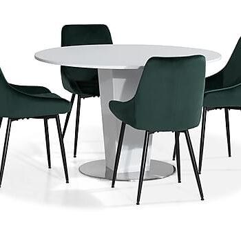 CALLIE Matbord 120 Vit + 4 VIKEN Stol Grön, Matgrupper