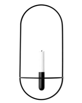 POV oval vas/ljushållare svart