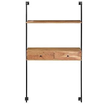 Väggmonterat skrivbord 90x40x170 cm massivt akaciaträ, Skrivbord