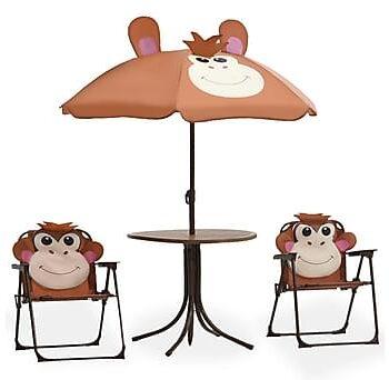 Caféset för barn med parasoll 3 delar brun, Caféset