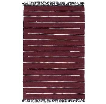 Handvävd matta Chindi bomull 120x170 cm vinröd, Handvävda mattor