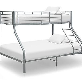 Våningssäng grå metall 140x200/90x200 cm, Våningssängar