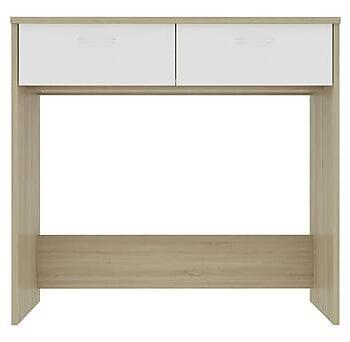 Skrivbord vit och sonoma-ek 80x40x75 cm spånskiva, Datorbord
