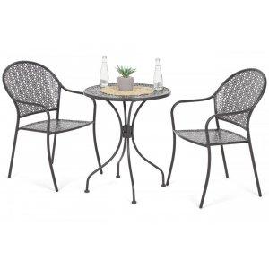 Cafégrupp Maja bord 60cm + 2 stolar - Grå