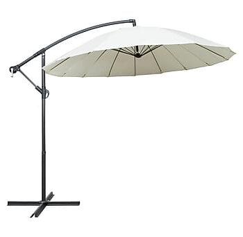 Hängande parasoll vit 3 m aluminiumstång, Parasoll