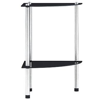 Hylla 2 hyllplan svart 30x30x47 cm härdat glas, Garderober