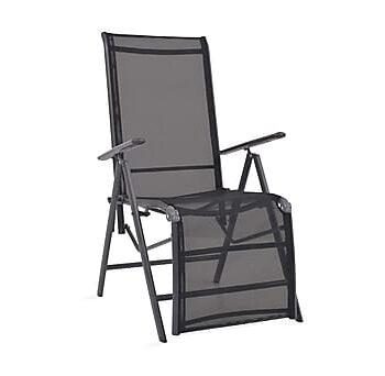 Justerbar solstol aluminium och textilene svart, Solstol
