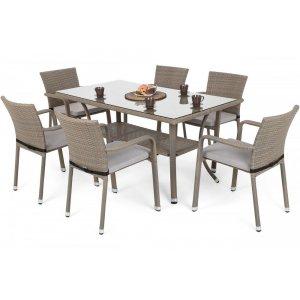 Matgrupp Sumba bord + 6 stolar & sittdynor - Beige melerad