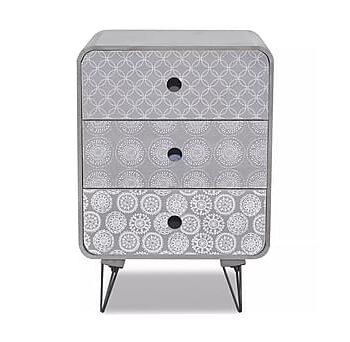 Sidobord med 3 lådor grå, Sidobord & lampbord