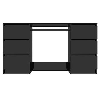 Skrivbord svart högglans 140x50x77 cm spånskiva, Datorbord