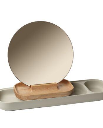 Slide förvaring med spegel Ask-betong