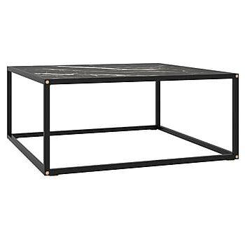 Soffbord med svart marmor glas 80x80x35 cm, Soffbord