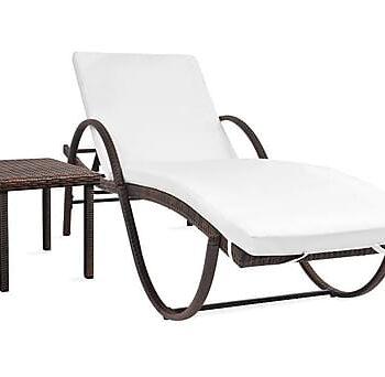 Solsäng med dyna & bord konstrotting brun, Solsängar & solvagnar