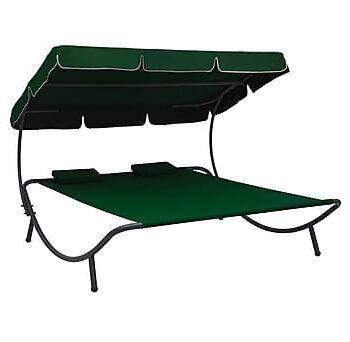 Solsäng med tak & kuddar grön, Solsängar & solvagnar