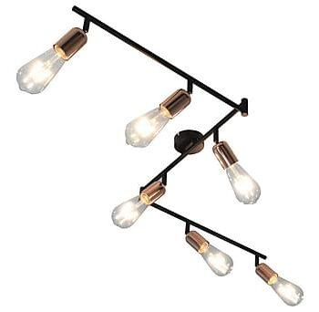 Spotlight med 6 st lampor svart och koppar 30 cm E27, Lampor