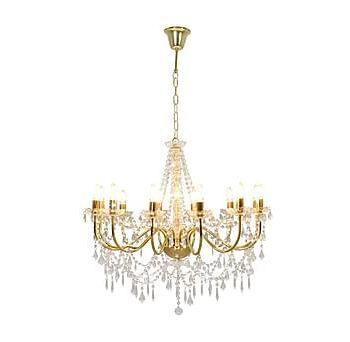 Takkrona med pärlor guld 12xE14-glödlampor, Taklampor