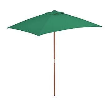 Trädgårdsparasoll med trästång 150x200 cm grön, Parasoll
