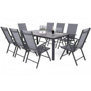Utematgrupp Ibiza bord 185cm + 8 stolar - Grå/mörk grå