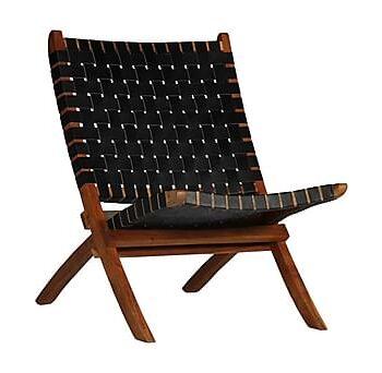 Hopfällbar stol flätad svart äkta läder, Utefåtöljer