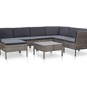 Loungegrupp för trädgården m. dynor 8 delar konstrotting grå, Loungemöbler
