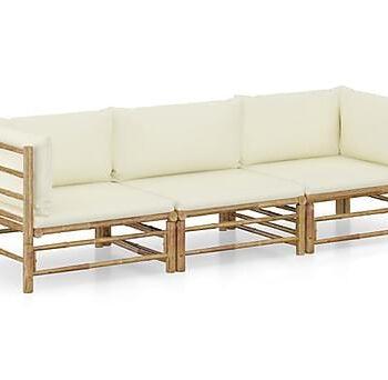 Loungegrupp för trädgården med gräddvita dynor 3 delar bambu, Loungemöbler